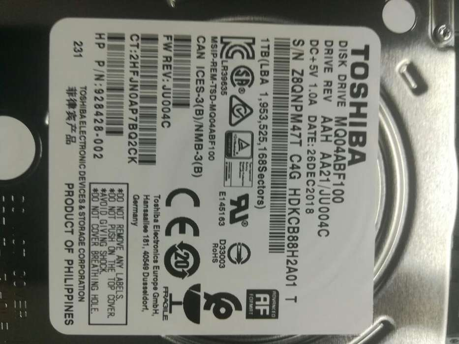 Disco Rigido Toshiba Notebook 1tb. Nuevo