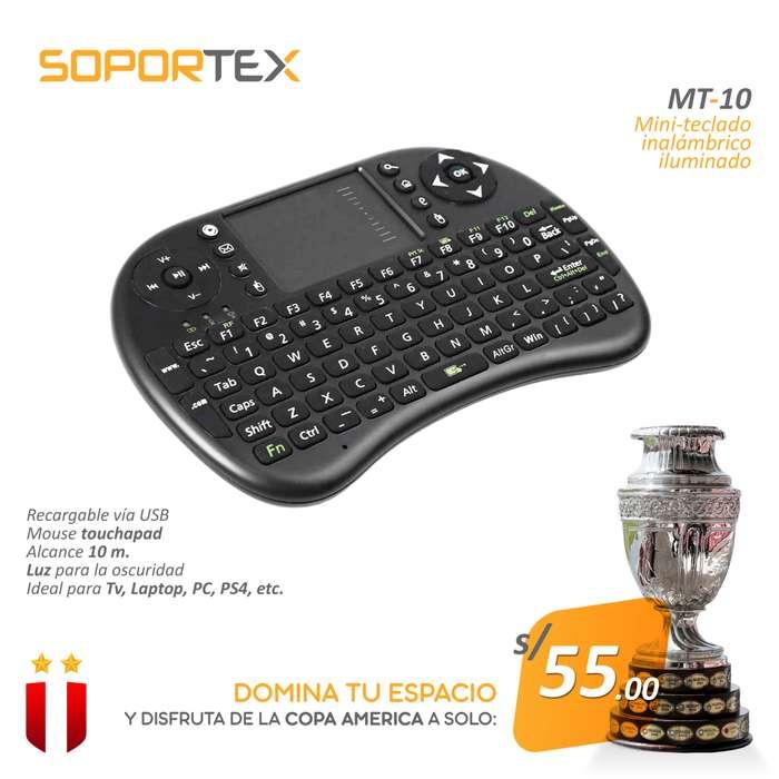 Mini Teclado Inalámbrico Iluminado Soportex MT10 para Pc, Tv, PS4, etc
