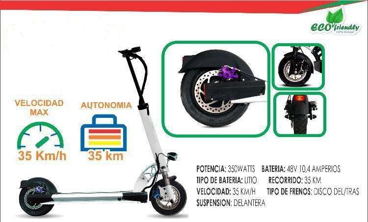 Scooter Patineta Eléctrica de 350W Batería Litio Panasonic