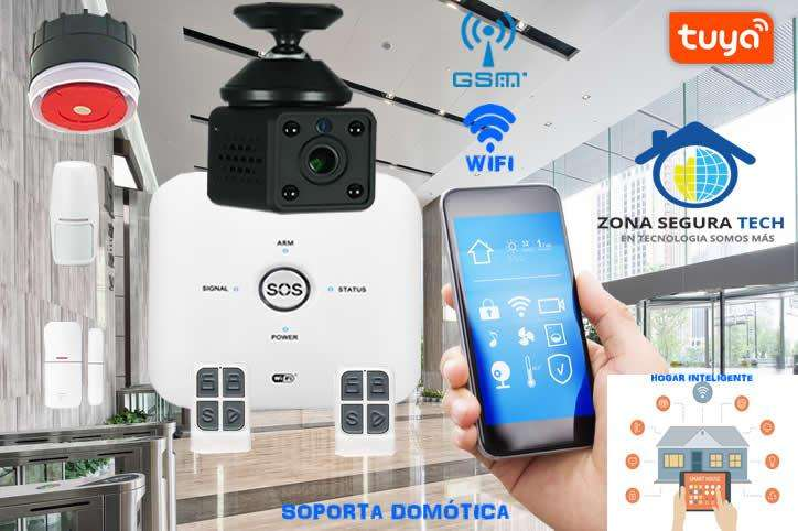 Kit de Seguridad Alarma WIFI GSM Tuya Smart 10GDT con cámara de video Full HD 1080p
