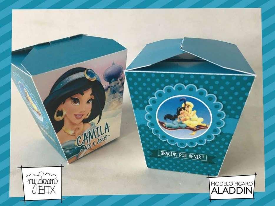 Disney Aladin Jazmin Caja F1 Cumple Evento Infantil Golosina Souvenir Decoración