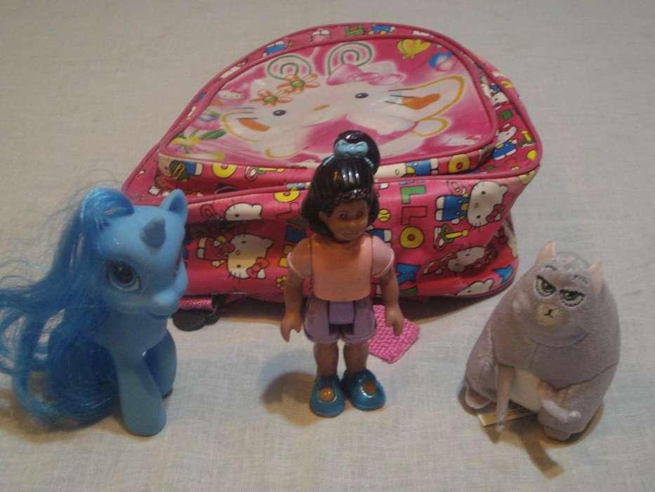 muñecos de nena X3 mas Mochilita