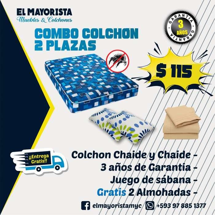 TU Colchón CHAIDE 2 Plazas MAS Sabanas MAS 2 Almohadas MAS ENTREGA GRATIS