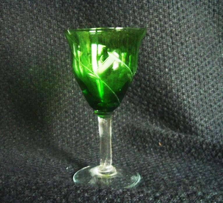 Copas Verdes De Cristal Tallado, Antiguas,