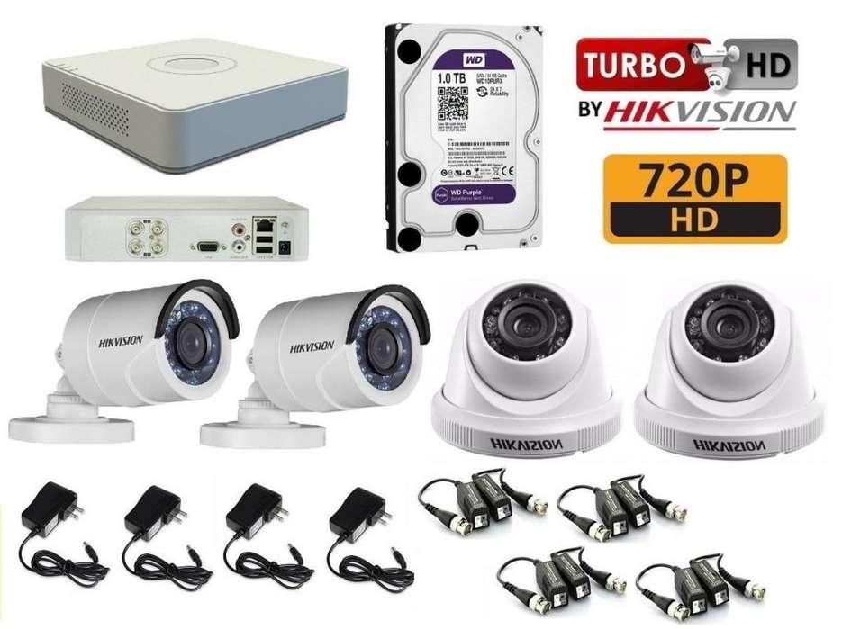CÁMARAS DE SEGURIDAD 4 HD CCTV HIKVISION 1TB WD Purpura