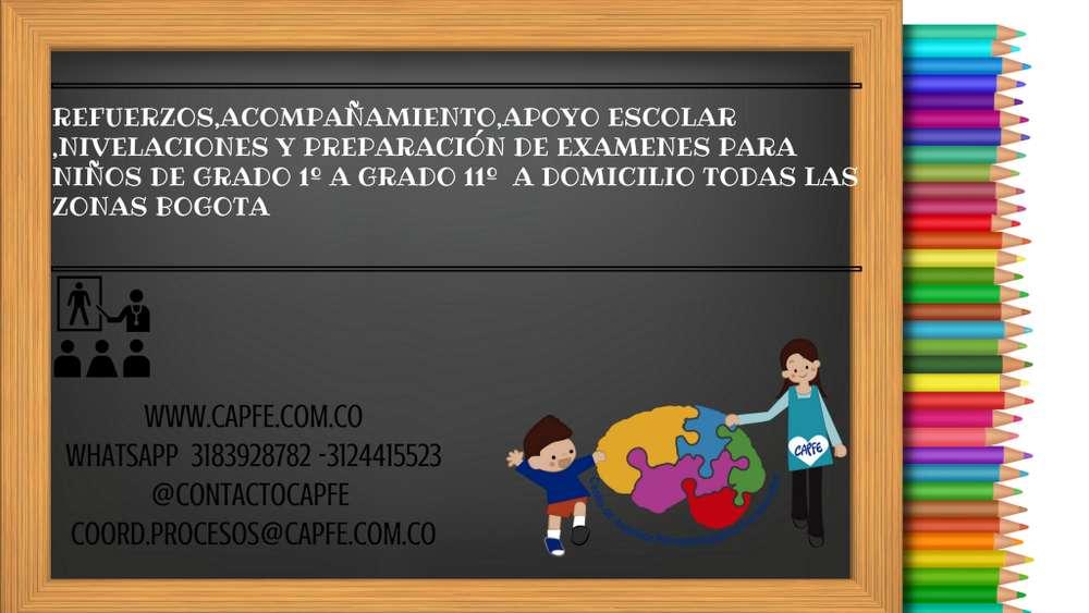 refuerzo de lectoescritura,asesorías de tareas, nivelaciones preparación de examenes a domicilio