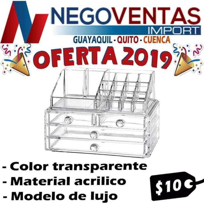 ORGANIZADOR DE MAQUILLAJE MATERIAL ACRÍLICO PRECIO OFERTA 10.00