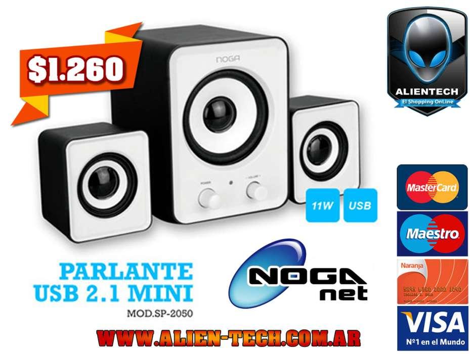 ALIENTECH: PARLANTE 2.1 NOGANET SP2050 POTENCIA 11W RMS ALIMENTACIÓN USB