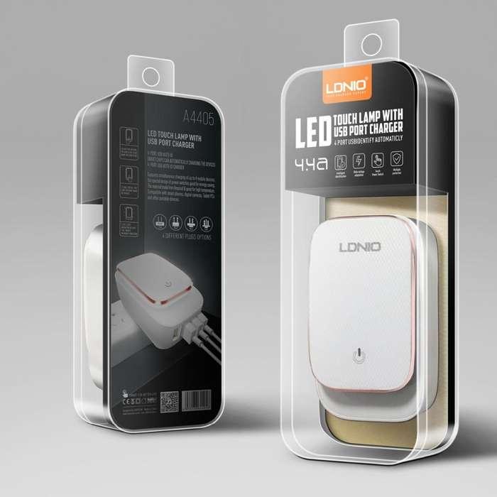 CARGADOR LDNIO DE 4 PUERTOS USB CARGA RAPIDA DE 4.4AMPERIOS