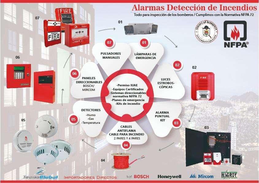 Sistemas alarma contra incendio dsc luz estroboscopica detector de humo sensor gas extintores pqs 10lb lampara emergenc