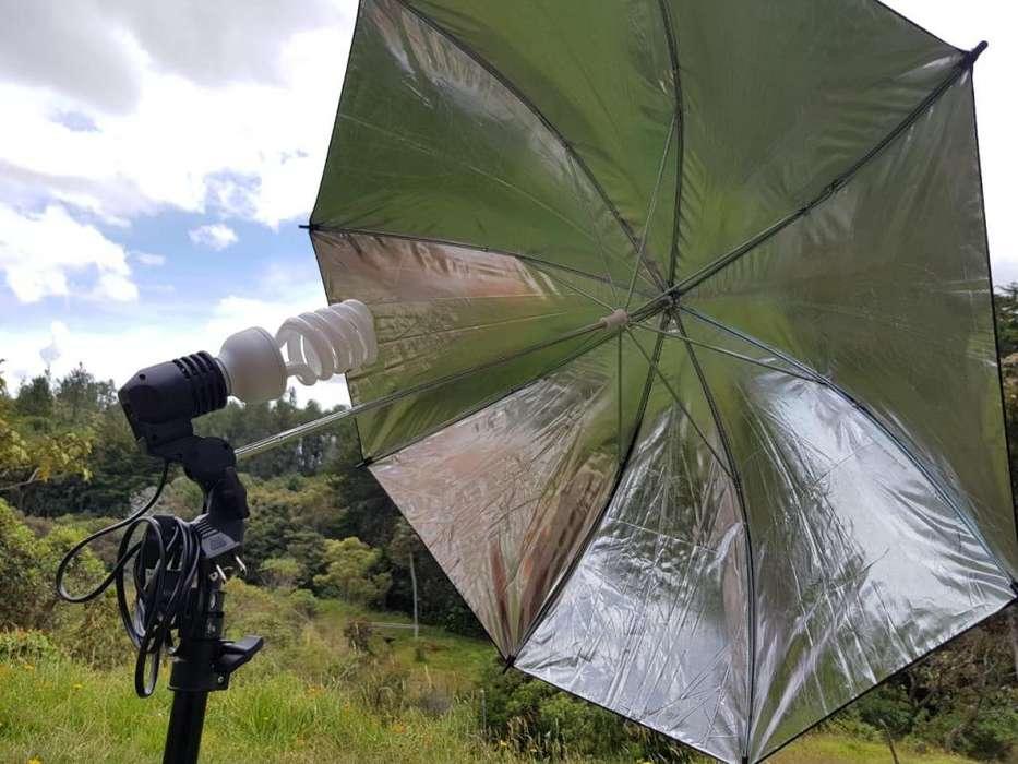 Kit Foto <strong>estudio</strong> Tripode 1.92 Mts Sombrilla Socket nuevo Marca Kshioe