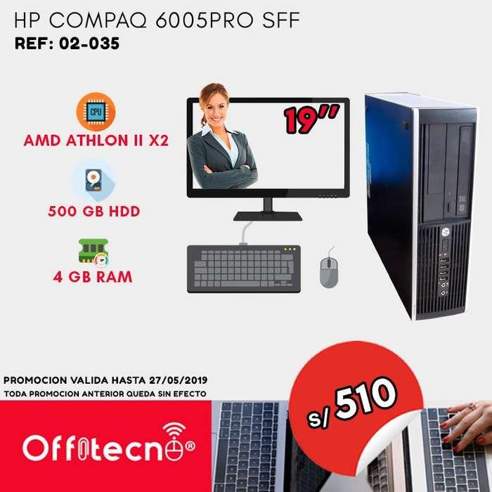 COMPUTADORA COMPLETA HP COMPAQ 6005 PRO SFF, PROCESADOR AMD ATHLON II X2, 4 GB RAM, 500 GB DISCO DUR