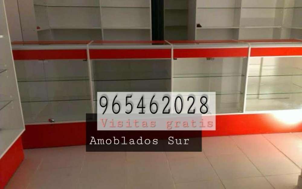 Mostrador en Melamine Vidrio Y Aluminio