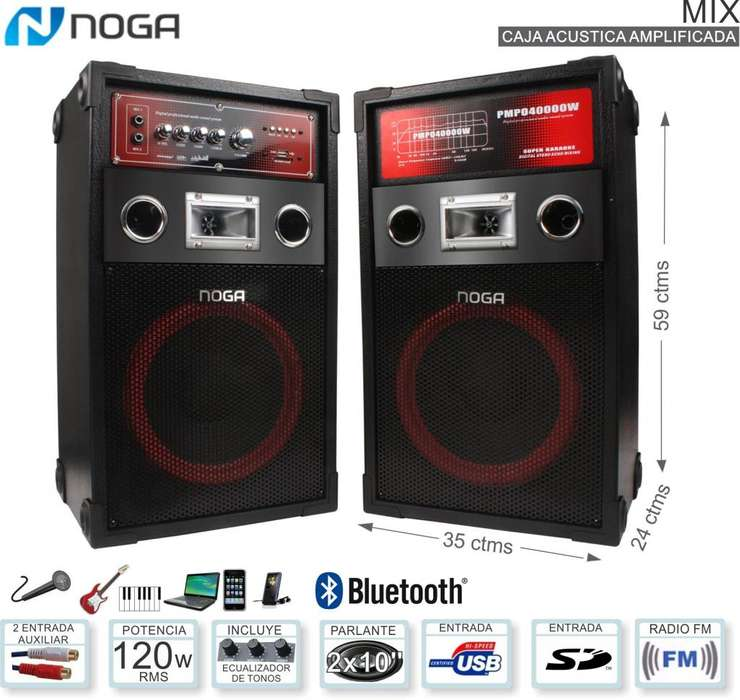 Parlante Bluetooth Noga Karaoke 60w C/u 2 Micrófonos !!