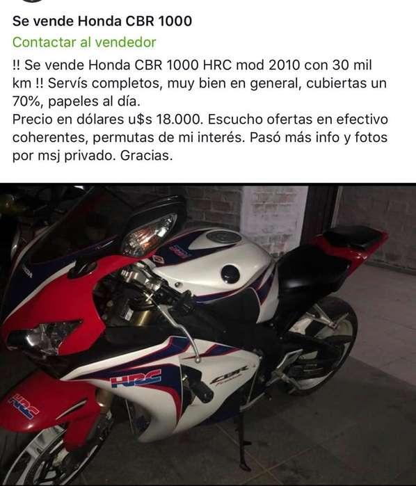 !!! Vendo Moto <strong>honda</strong> Cbr 1000 Hrc 2010 !