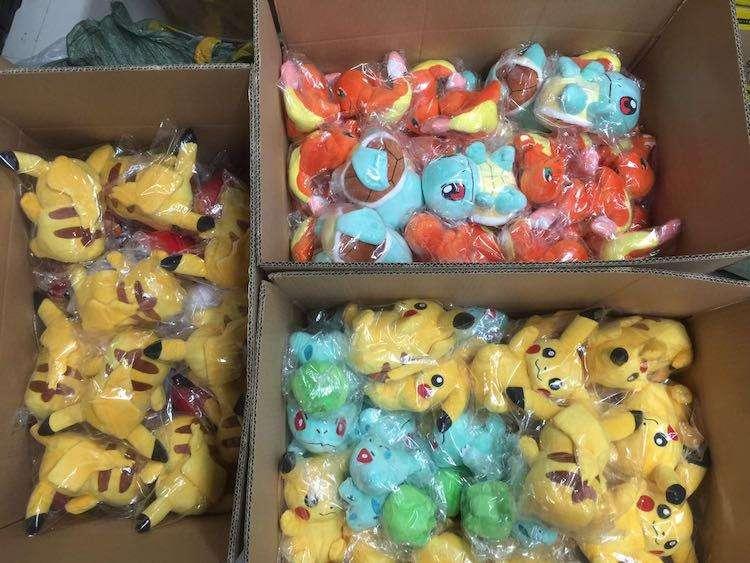 Peluches de Pokémon: Pikachu, Charmander, Squirtle, Bulbasaur y Eevee (Anime)