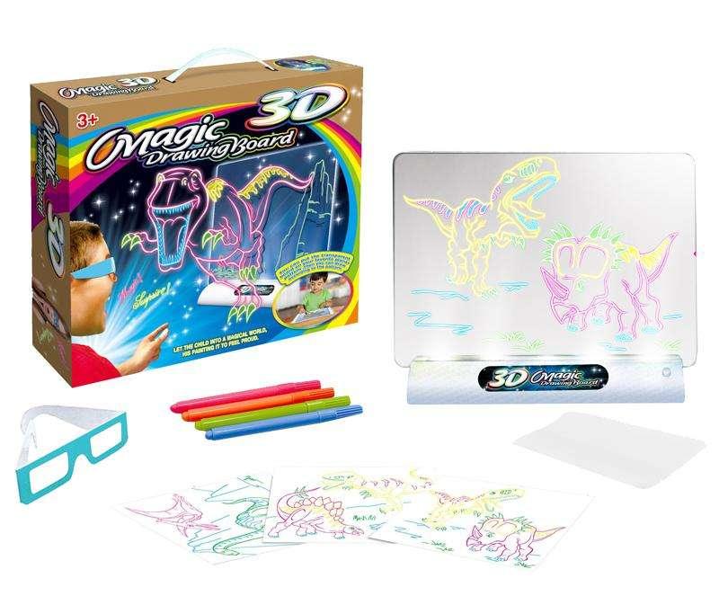 Tablero 3D Mágico para niños con luces LED Gafas 3D Juguete Educativo Magic Drawing Board