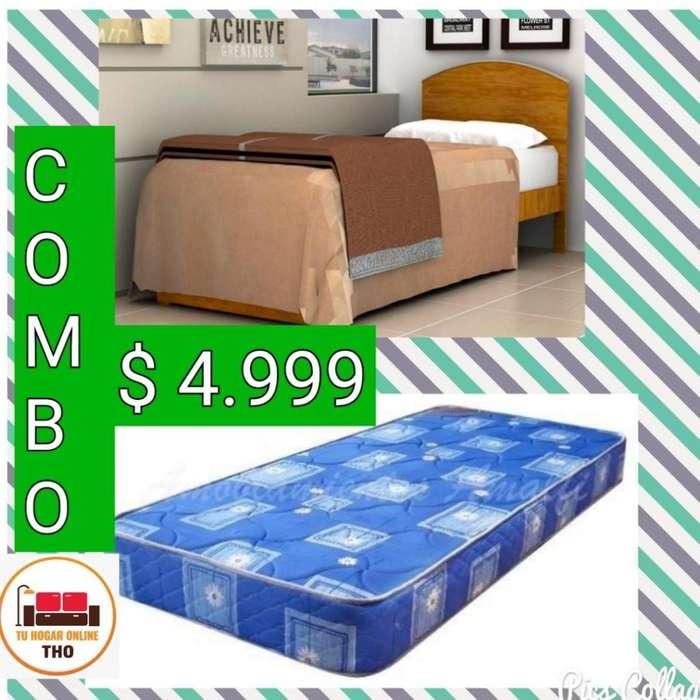 T H O // Cama más Colchón Piero de 1 Plaza // Camas // Colchones // Tu Hogar Online