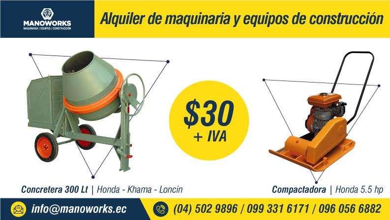 Alquiler de concretera, compactadora, rotomartillo, vibroapisonadora, motobomba, encofrado metálico y andamios