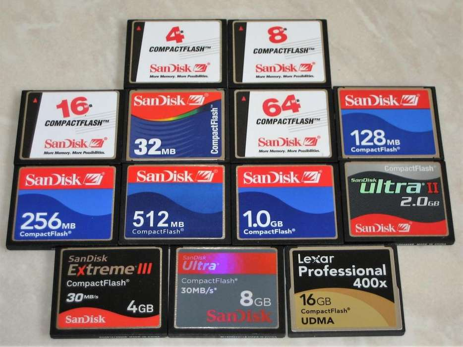Memoria Compact Flash 64MB, 128MB, 256MB, 512MB, 1GB, 2GB, 4GB, 8Gb, 16GB