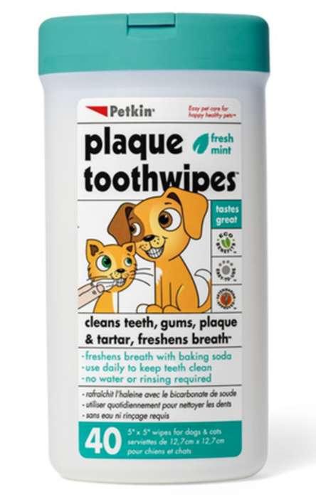 Pañitos húmedos Petkin para los dientes de tu mascota.