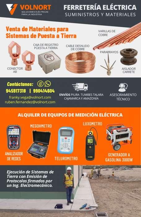 MEDICION DE POZOS A TIERRA Y VENTA DE MATERIALES ELECTRICOS