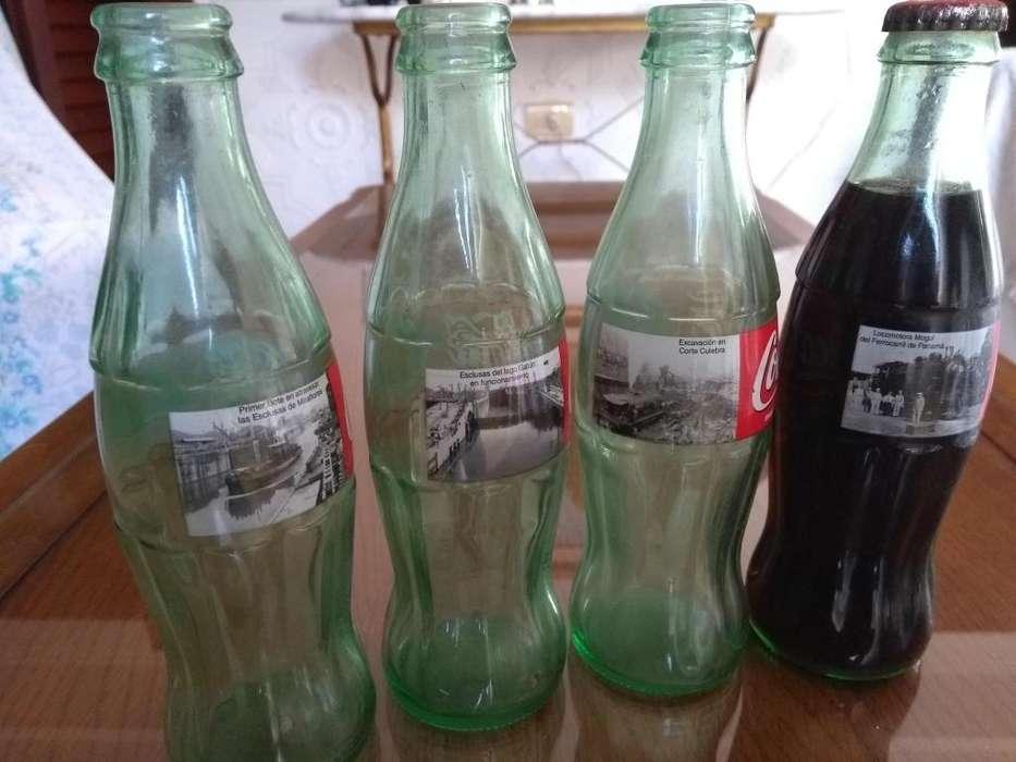 Botellas de Coca Cola 8 oz, coleccion Reversión Canal de Panamá