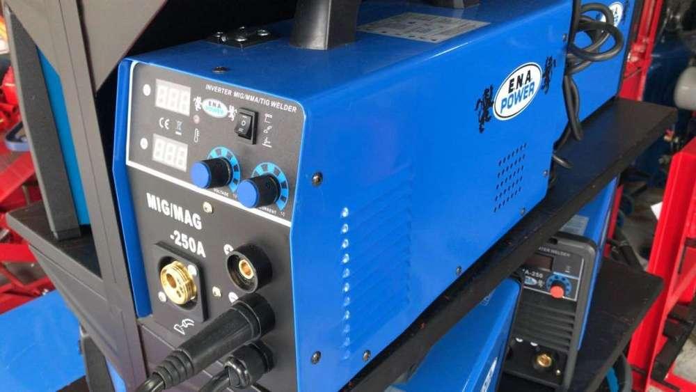 Equipo marca ENA power multiproceso mig mas tig mas inversor 250amp para5 kilos de alambre nuevos