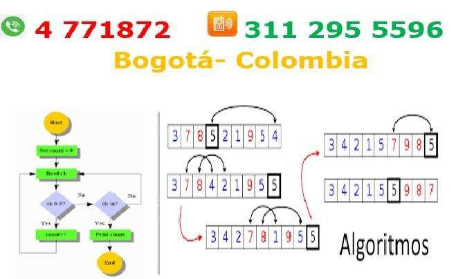 Clases de programación Bogotá, algoritmos, paython, dev c c, Arduino, programación en