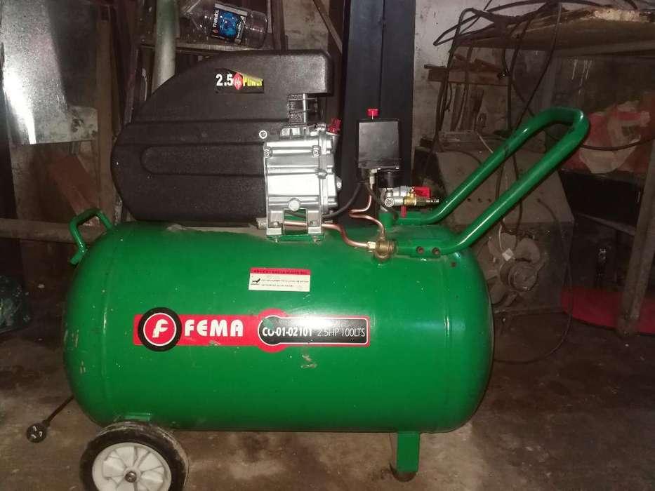 Compresor Aire Fema 100l 2.5hp Doble Sal