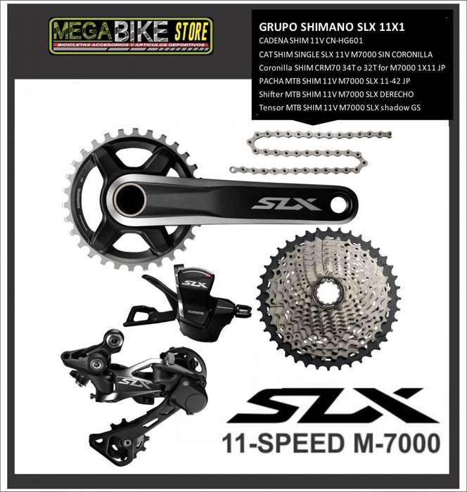 GRUPO CICLISMO SHIMANO SLX M7000 11V MONOPLATO PARA <strong>bicicleta</strong> MONTAÑA MTB CROSSCOUNTRY bielas ,tensor, cassete, cadena
