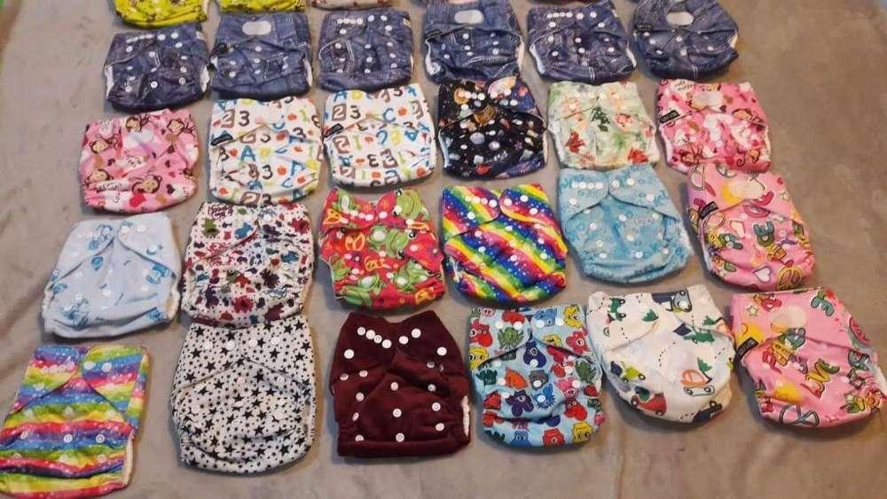 Lote 66 pañales ecológicos nuevos ajustables lavables 5 a 15 kg con 66 insertos absorbentes y nuevos de microfibra