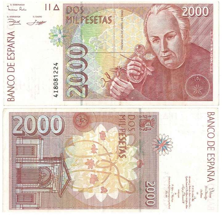 ESPAÑA. BILLETE. 2000 PESETAS. 1992 ABR 24. ESTADO 8 DE 10. VALOR 99900 153600 VALOR CATALOGO