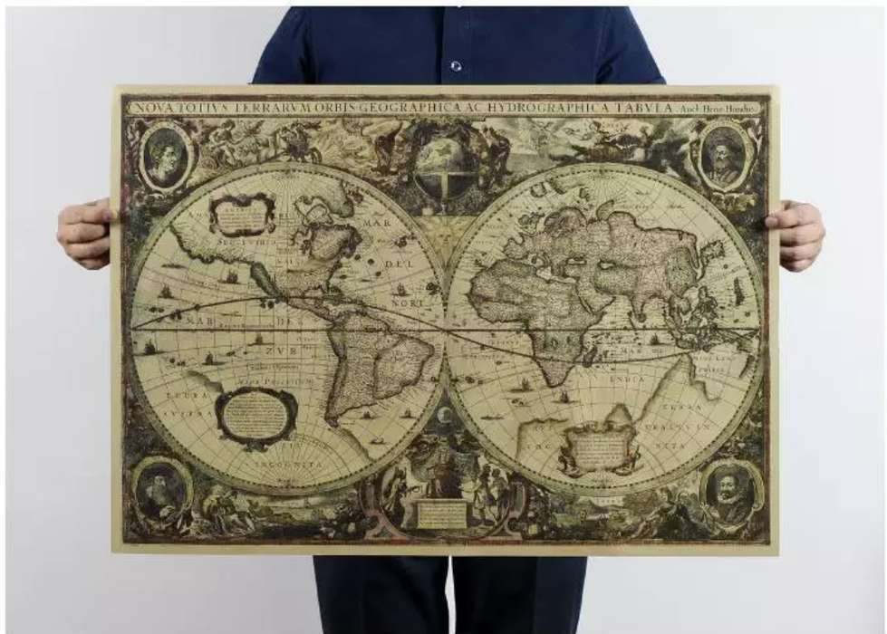 Mapa Vintage Mapa Antiguo Decorativo Grande 75.5x51.5cm
