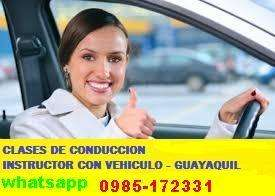 Clases de Manejo 0985-172331 Instructor con Vehiculo-Guayaquil