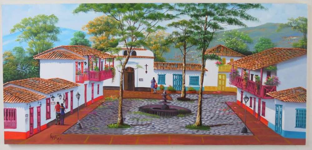 Calle Al Oleo , Pueblito Paisa Cuadro Sobre Lienzo