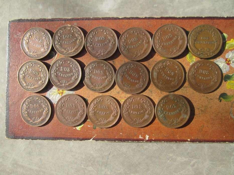lote de 17 monedas de 2 centavos de cobre por años