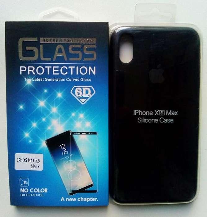 52c03d4494a Estuche Case Silicon iPhone Xs Max mas mica De Vidrio 9h