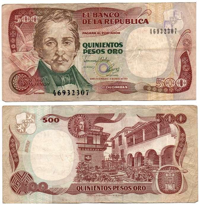COLOMBIA. BILLETE. 500 PESOS. 1993 ENE 04. ESTADO 6 DE 10. VALOR 1200