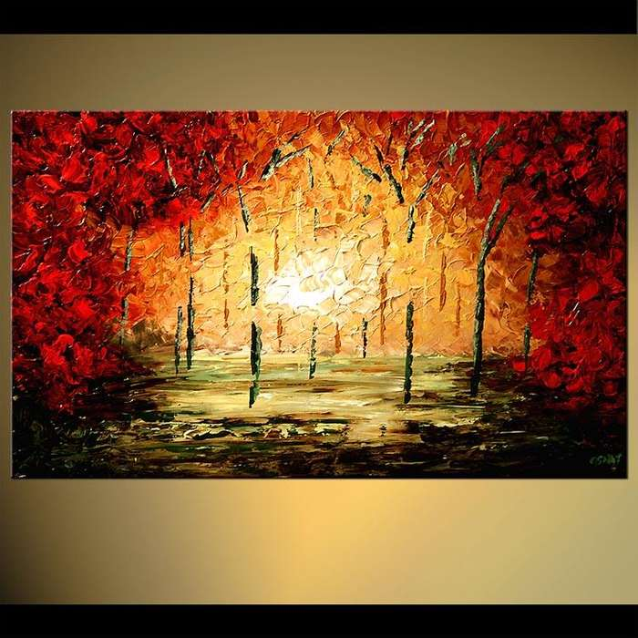 cuadro colorido en tonos rojos 9976