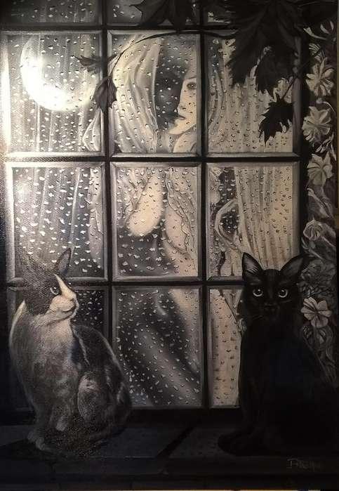 cuadro original sobre madera acrilico tinta 120 x 90 cm.