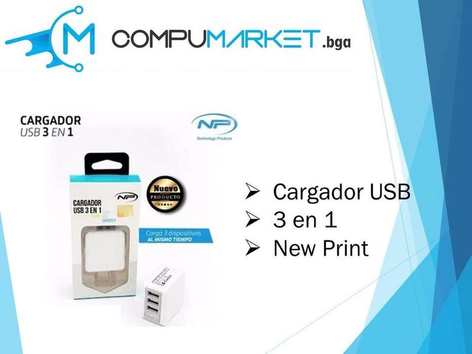 Cargador USB 3 en 1 New Print nuevo y facturado