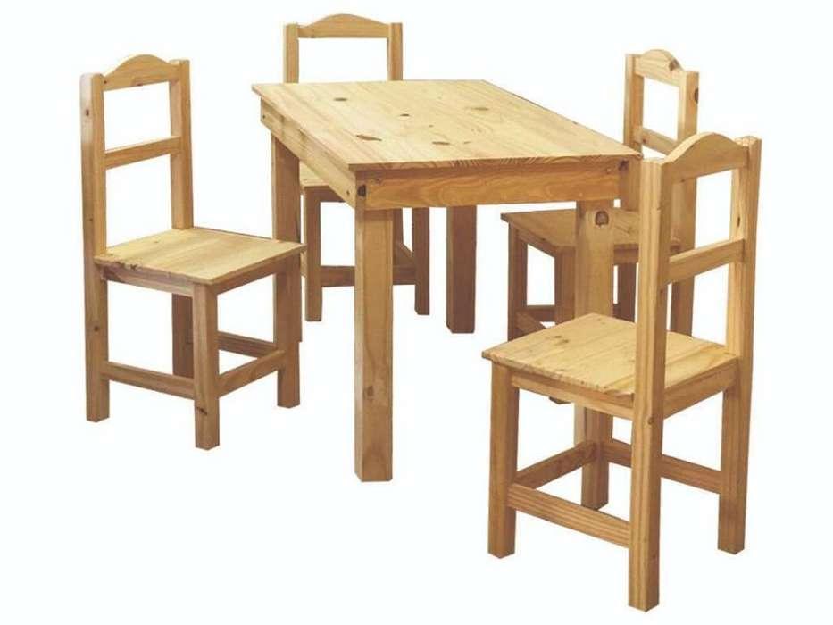 mesa de pino 120x70 4 sillas arco