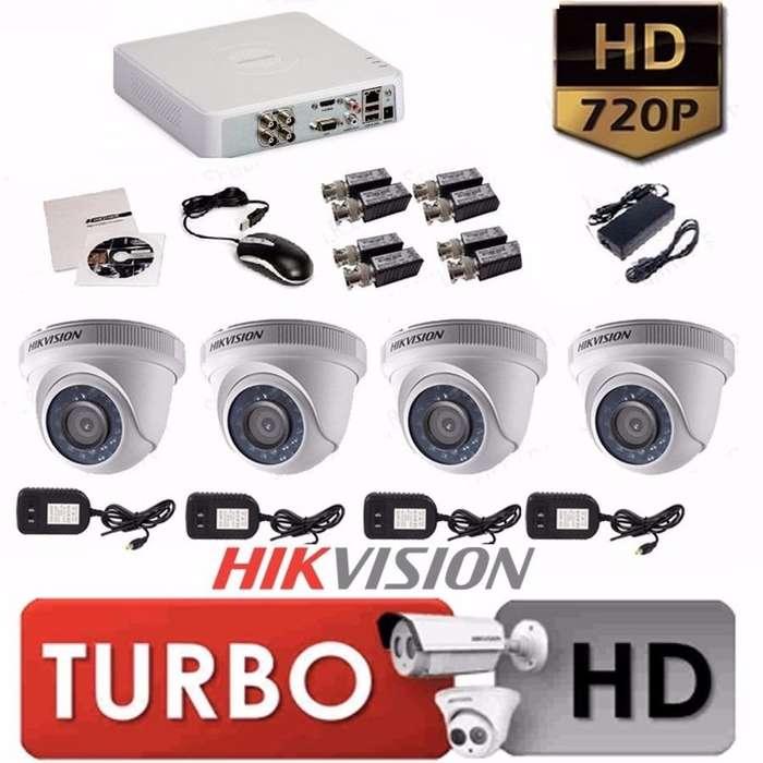 KIT HIKVISION DE 4 CAMARAS DE SEGURIDAD HD 720 VISION NOCTURNA GRATIS MICRÓFONO LLAMA YA 3228806864