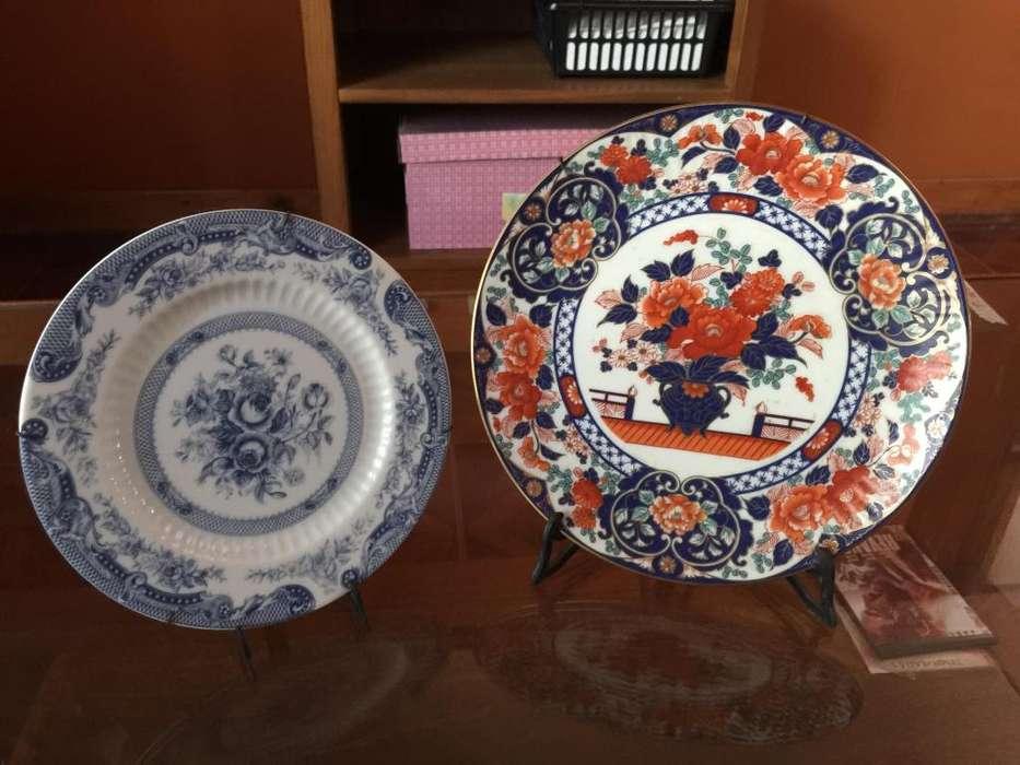 6 platos de porcelana decorativos vintage