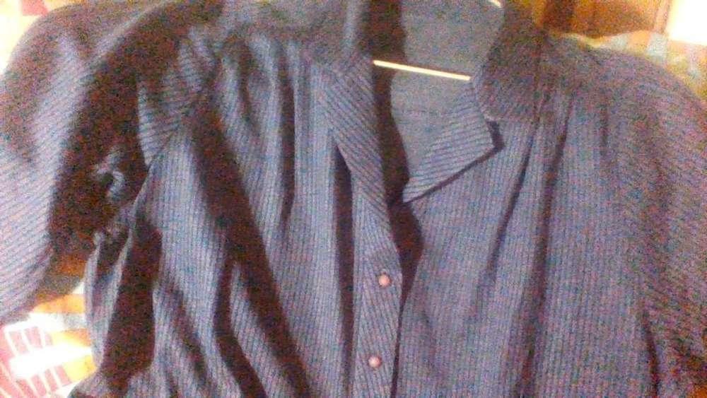 Vestido Manga larga tableado Azul