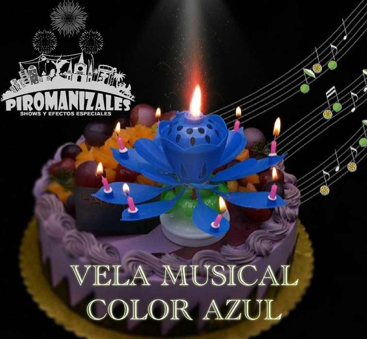 Vela Cumpleaños Musical Flor Loto Azul