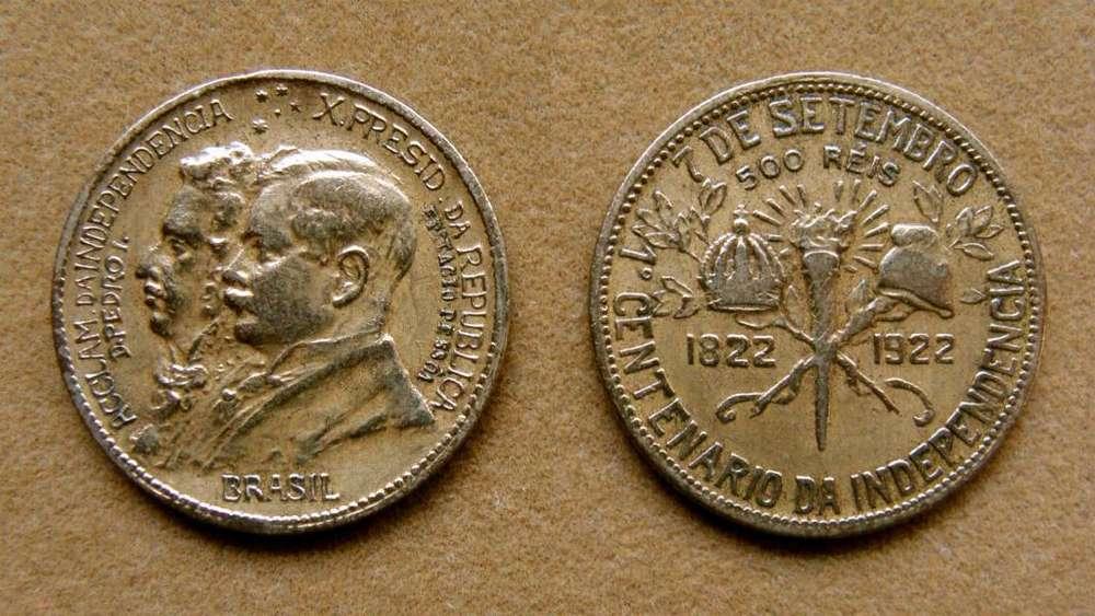 Moneda de 500 reis Brasil 1922