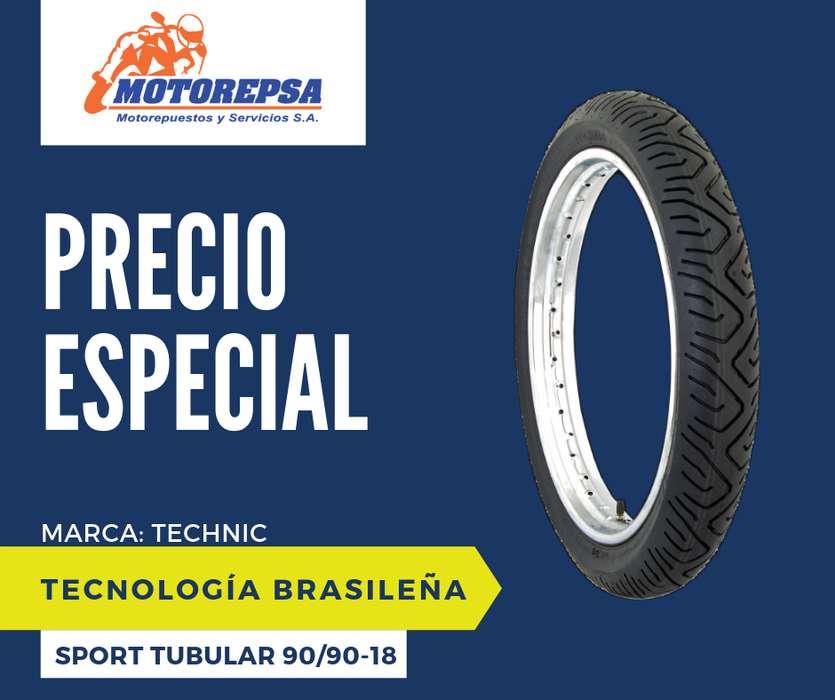 <strong>llanta</strong> TECHNIC SPORT TUBULAR 90/90 18 para Moto HONDA CG 125, CBX 150 200 YAMAHA