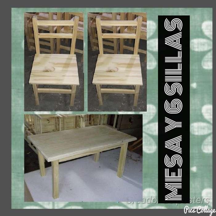 Conjunto de Mesa 6 sillas de Pino // Mesa de 180 X 80 cm // Conjunto sin Pintar // Tu Hogar Online